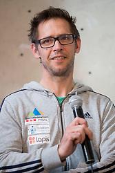 Luka Fonda, coach and offical photographer at press conference #SlovenijaPleza 2018 of Slovenia climbing team, on April 9, 2018 in Plezalni center Ljubljana, Ljubljana, Slovenia. Photo by Urban Urbanc / Sportida