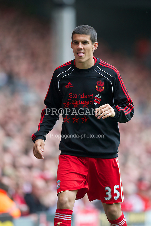 LIVERPOOL, ENGLAND - Saturday, April 23, 2011: Liverpool's substitute Conor Coady during the Premiership match against Birmingham City at Anfield. (Photo by David Rawcliffe/Propaganda)