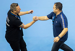 Nikolaj Jacobsen, head coach of RNL and Branko Tamse, head coach of Celje PL during handball match between RK Celje Pivovarna Lasko (SLO) and Rhein-Neckar Loewen (GER) in Round 6 of EHF Champions League 2014/15, on November 23, 2014 in Arena Zlatorog, Celje, Slovenia. Photo by Vid Ponikvar / Sportida