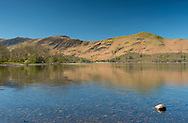 A view over Derwent Water toward Cat Bells Mountain in The Lake District National Park, Cumbria, UK.