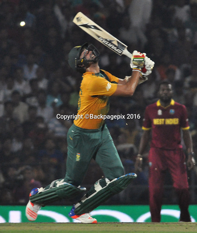 David Wiese of South Africa catch Darren Sammy bowled by Dwayne Bravo of  West Indies not in the picture during the 2016 ICC World T20 cricket match between South Africa and West Indies at Vidharbha Cricket Association, Jamtha, India on 25 March 2016 ©BackpagePix