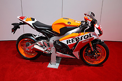 11 February 2016: Honda CBR 1000 RR<br /> <br /> First staged in 1901, the Chicago Auto Show is the largest auto show in North America and has been held more times than any other auto exposition on the continent.  It has been  presented by the Chicago Automobile Trade Association (CATA) since 1935.  It is held at McCormick Place, Chicago Illinois<br /> #CAS16