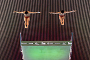 Junjie Lian of China and Hao Yang of China in the Men's Syncronised 10m dive during the FINA/CNSG Diving World Series 2019 at London Aquatics Centre, London, United Kingdom on 17 May 2019.