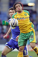 Leicester - Saturday, February 16th, 2008: Gareth McAuley (L) of Leicester City and Darel Russell (R) of Norwich City during the Coca Cola Championship match at the Walkers Stadium, Leicester. (Pic by Mark Chapman/Focus Images)
