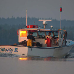 Lobster Boat Out Early in Castine Harbor, Castine, Maine, US