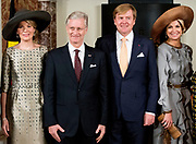 Staatsbezoek aan Nederland van Zijne Majesteit Koning Filip der Belgen vergezeld door Hare Majesteit Koningin <br /> Mathilde aan Nederland.<br /> <br /> State Visit to the Netherlands of His Majesty King of the Belgians Filip accompanied by Her Majesty Queen<br /> Mathilde Netherlands<br /> <br /> op de foto / On the photo: King Philippe and Queen Mathilde of Belgium and King Willem-Alexander and Queen Maxima of The Netherlands attend the signing of the treaty Boundary Correction by Belgian and Dutch foreign Ministers Reynders and Koenders at the Royal Palace in Amsterdam, The Netherlands, 28 November 2016. The King and Queen of Belgium bring a 3 day state visit to the Netherlands.