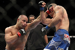 September 24, 2010; Indianapolis, IN; USA; Matt Serra (white trunks) and Chris Lytle (blue trunks) during their bout at UFC 119 at the Conseco Fieldhouse in Indianapolis, IN. Lytle won via unanimous decision.