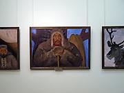 Gemaelde im nationalen Kunstmuseum der Teilrepublik Sacha (Jakutien) im Zentrum von Jakutsk. Jakutsk hat 236.000 Einwohner (2005) und ist Hauptstadt der Teilrepublik Sacha (auch Jakutien genannt) im Foederationskreis Russisch-Fernost und liegt am Fluss Lena. Jakutsk ist im Winter eine der kaeltesten Grossstaedte weltweit mit durchschnittlichen Winter Temperaturen von -40.9 Grad Celsius.<br /> <br /> Paintings at The National Art Museum of Sakha Republic (Yakutia) in the center of Yakutsk. Yakutsk is a city in the Russian Far East, located about 4 degrees (450 km) below the Arctic Circle. It is the capital of the Sakha (Yakutia) Republic (formerly the Yakut Autonomous Soviet Socialist Republic), Russia and a major port on the Lena River. Yakutsk is one of the coldest cities on earth, with winter temperatures averaging -40.9 degrees Celsius.