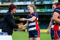 Nolli Waterman of Bristol Ladies collects a runners up medal after losing in the Play Off Final having finished the regular season top of the league - Rogan Thomson/JMP - 23/04/2017 - RUGBY UNION - Sixways Stadium - Worcester, England - Bristol Ladies Rugby v Aylesford Bulls - Women's Premiership Final.