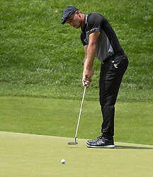 June 22, 2018 - Cromwell, CT, USA - Bryson DeChambeau pars the 18th hole during the second round of the Travelers Championship at TPC River Highlands in Cromwell, Conn., on Friday, June 22, 2018. (Credit Image: © Patrick Raycraft/TNS via ZUMA Wire)