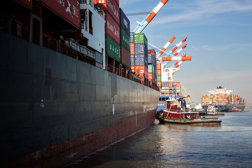 Moran Tugs working at Newark Container Terminal, after leading the ship in from NYC harbour