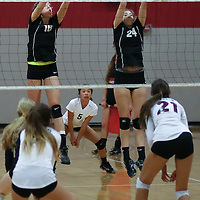 (Photograph by Bill Gerth for SVCN) Westmont #16 Melina Mahood and #24 Megan Aronson defend the net vs Piedmont Hills in a BVAL Girls Volleyball Game at Westmont High School, Campbell CA on 9/29/16.  (Piedmont Hills wins 3-0, 25-13, 25-14, 25-20)