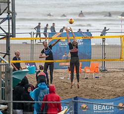 Raisa Schoon & Katja Stam in action. The DELA NK Beach volleyball for men and women will be played in The Hague Beach Stadium on the beach of Scheveningen on 22 July 2020 in Zaandam.