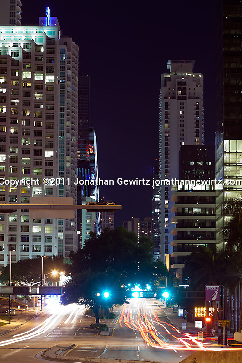 Night view looking south along Brickell Avenue, one of Miami's main commercial and residential thoroughfares. WATERMARKS WILL NOT APPEAR ON PRINTS OR LICENSED IMAGES.