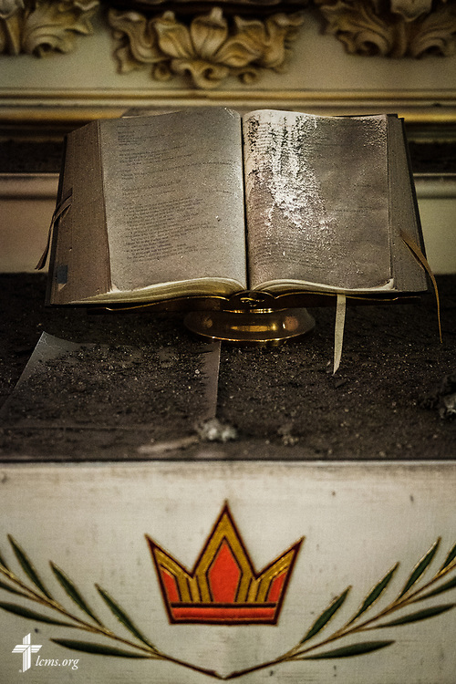 The altar book at Immanuel Lutheran Church, St. Charles, Mo., on Monday, June 4, 2018. The entire baptismal side of the sanctuary interior ceiling collapsed May 29 at 1.29 a.m. in the morning. No one was injured in the collapse, nor was the altar. LCMS Communications/Erik M. Lunsford