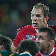 Alun Wyn Jones, Wales, in action during the Wales V South Africa, Pool D match during the Rugby World Cup in Wellington, New Zealand,. 11th September 2011. Photo Tim Clayton
