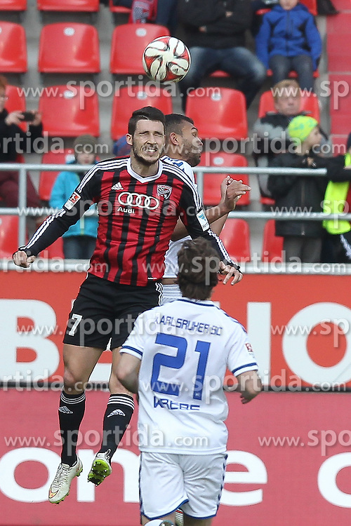 15.03.2015, Audi Sportpark, Ingolstadt, GER, 2. FBL, FC Ingolstadt 04 vs Karlsruher SC, 25. Runde, im Bild Mathew Leckie (Nr.7, FC Ingolstadt 04) beim Kopfball // during the 2nd German Bundesliga 25th round match between FC Ingolstadt 04 and Karlsruher SC at the Audi Sportpark in Ingolstadt, Germany on 2015/03/15. EXPA Pictures &copy; 2015, PhotoCredit: EXPA/ Eibner-Pressefoto/ Strisch<br /> <br /> *****ATTENTION - OUT of GER*****