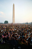 A 27.9 MG FILE FROM FILM OF:.A demonstration on the mall with the Washington Monument in the background.  Photo by Dennis Brck