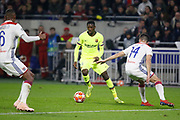Ousmane Dembele of Barcelona and Dubois Leo of Lyon during the UEFA Champions League, round of 16, 1st leg football match between Olympique Lyonnais and FC Barcelona on February 19, 2019 at Groupama stadium in Decines-Charpieu near Lyon, France - Photo Romain Biard / Isports / ProSportsImages / DPPI