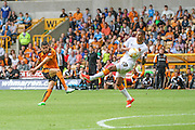 Wolves Conor Coady shoots for goal during the Sky Bet Championship match between Wolverhampton Wanderers and Hull City at Molineux, Wolverhampton, England on 16 August 2015. Photo by Shane Healey.