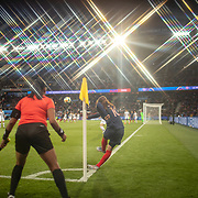 PARIS, FRANCE June 07. Amel Majri #10 of France takes a corner during the France V South Korea, Group A match during the FIFA Women's World Cup at the Parc des Princes Stadium on June 7th 2019 in Paris, France. (Photo by Tim Clayton/Corbis via Getty Images)<br /> <br /> (Note to editors: A special effects starburst filter was used in the creation of this image)