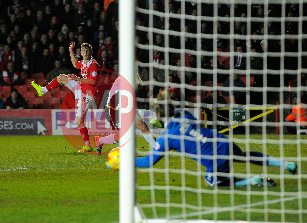 Bristol City's Joe Bryan sees his effort well saved by Port Vale's Chris Neal  - Photo mandatory by-line: Joe Meredith/JMP - Mobile: 07966 386802 - 10/02/2015 - SPORT - Football - Bristol - Ashton Gate - Bristol City v Port Vale - Sky Bet League One