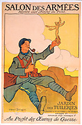 World War I 1914-1918: French frontline soldier holding statue of Victory he has carved. Winning poster by Henri Dangon for Salon des Armees, exhibition of work of fighting artists held in Paris. 60,000 francs raised for needy artists.