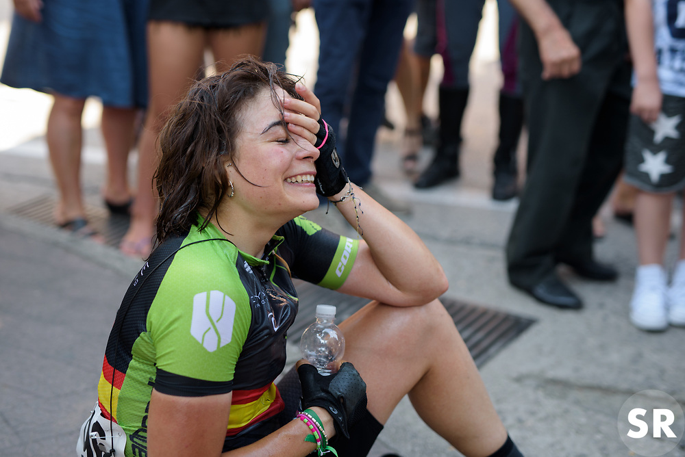 Sheyla Gutierrez lets the win sink in after Stage 7 of the Giro Rosa - a 141.9 km road race, between Isernia and Baronissi on July 6, 2017, in Isernia, Italy. (Photo by Sean Robinson/Velofocus.com)
