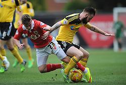 Bristol City's Joe Bryan challenges for the ball with Sheffield United's John Brayford - Photo mandatory by-line: Dougie Allward/JMP - Mobile: 07966 386802 - 14/02/2015 - SPORT - Football - Bristol - Ashton Gate - Bristol City v Sheffield United - Sky Bet League One