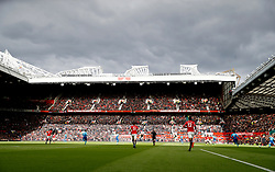 """A general view of the match action during the Premier League match at Old Trafford, Manchester. PRESS ASSOCIATION Photo. Picture date: Sunday April 29, 2018. See PA story SOCCER Man Utd. Photo credit should read: Martin Rickett/PA Wire. RESTRICTIONS:  EDITORIAL USE ONLY No use with unauthorised audio, video, data, fixture lists, club/league logos or """"live"""" services. Online in-match use limited to 75 images, no video emulation. No use in betting, games or single club/league/player publications."""