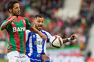 Portugal, FUNCHAL : Maritimo's Portuguese defender João Diogo (R)  vies with Porto's Portuguese forward Quaresma (R ) during Portuguese League football match Maritimo vs F.C. Porto at Barreiros Stadium in Funchal on January  25, 2015. PHOTO/ GREGORIO CUNHA