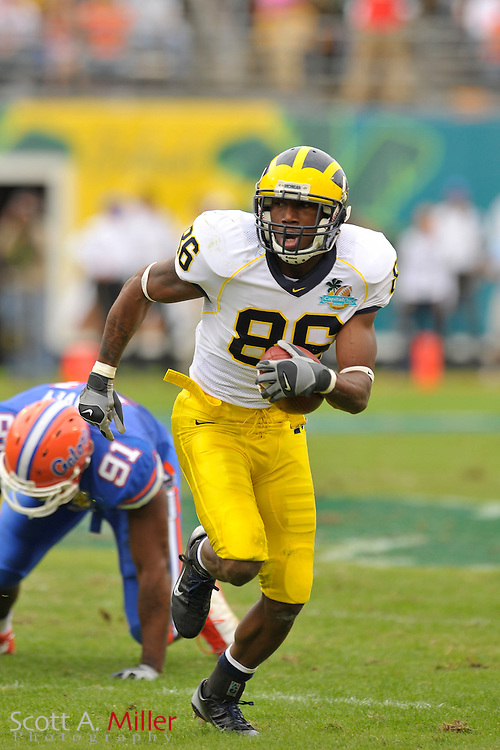 Jan. 1, 2008; Orlando, FL, USA; Michigan Wolverines wide receiver Mario Manningham (86)  during the Wolverines 41-35 win over the Florida Gators in the Capital One Bowl at the Citrus Bowl...©2008 Scott A. Miller