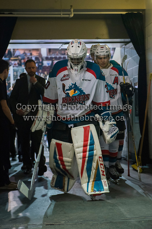 KELOWNA, CANADA - MARCH 31: Michael Herringer #30 of the Kelowna Rockets walks to the dressing room after a game 5 loss to the Kamloops Blazers on March 31, 2017 at Prospera Place in Kelowna, British Columbia, Canada.  (Photo by Marissa Baecker/Shoot the Breeze)  *** Local Caption ***