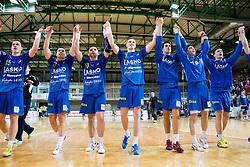 Vid Poteko of Celje, Luka Zvizej of Celje, Alem Toskic of Celje, Blaz Blagotinsek of Celje, Stefan Cavor of Celje celebrate after the  handball match between RK Cimos Koper and RK Celje Pivovarna Lasko in 26th Round of 1st NLB Leasing league 2012/13 on April 14, 2013 in Arena Bonifika, Koper, Slovenia. Celje PL defeated Cimos Koper 36-31. (Photo By Vid Ponikvar / Sportida)