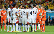 Players from Netherlands and Costa Rica square up during the 2014 FIFA World Cup match at the Itaipava Arena Fonte Nova, Nazare, Bahia<br /> Picture by Stefano Gnech/Focus Images Ltd +39 333 1641678<br /> 05/07/2014