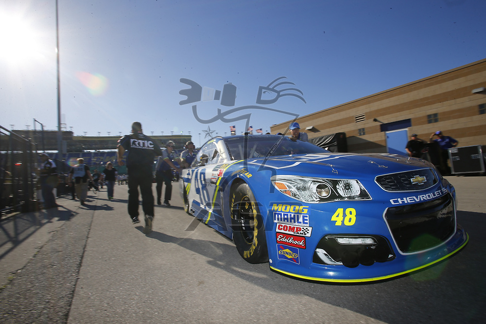 May 12, 2017 - Kansas City, Kansas, USA: The Monster Energy NASCAR Cup Series teams take to the track to practice for the Go Bowling 400 at Kansas Speedway in Kansas City, Kansas.