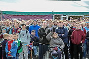 Burnley fans watch the Brighton game on large screens outside the ground before the Sky Bet Championship match between Burnley and Queens Park Rangers at Turf Moor, Burnley, England on 2 May 2016. Photo by Mark P Doherty.