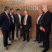 31.08. 2017.                                   <br /> Leaders in the pharmaceutical manufacturing sector in Ireland gathered at University of Limerick today for the third annual Pharmaceutical Manufacturing Technology Centre (PMTC) Knowledge Day.<br /> <br /> Pictured at the event were, Jon O'Halloran, SSPC General Manager UL, Prof Gavin Walker, Bernal Chair in Pharmaceutical Powder Engineering, UL, Chris Edlin, PMTC Director, Sean Kelly MEP, Luuk Van der Wielen, Director Bernal Institute and Dr. Pat Phelan, Associate Registrar, UL.<br /> <br /> The event provided a showcase for the cutting-edge research supported by the centre with key note addresses from industry thought leaders who shared their vision of the future for the pharmaceutical sector. Picture: Alan Place