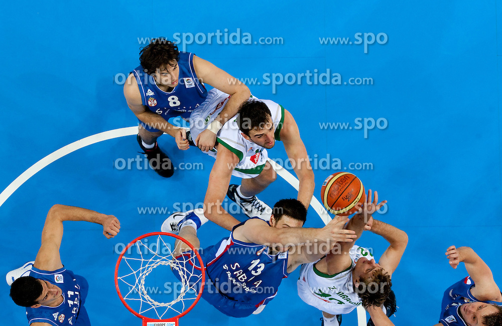 Nemanja Bjelica of Serbia and Kosta Perovic of Serbia vs Mirza Begic of Slovenia and Zoran Dragic of Slovenia during basketball game between National basketball teams of Slovenia and Serbia in 7th place game of FIBA Europe Eurobasket Lithuania 2011, on September 17, 2011, in Arena Zalgirio, Kaunas, Lithuania. Slovenia defeated Serbia 72 - 68 and placed 7th. (Photo by Vid Ponikvar / Sportida)