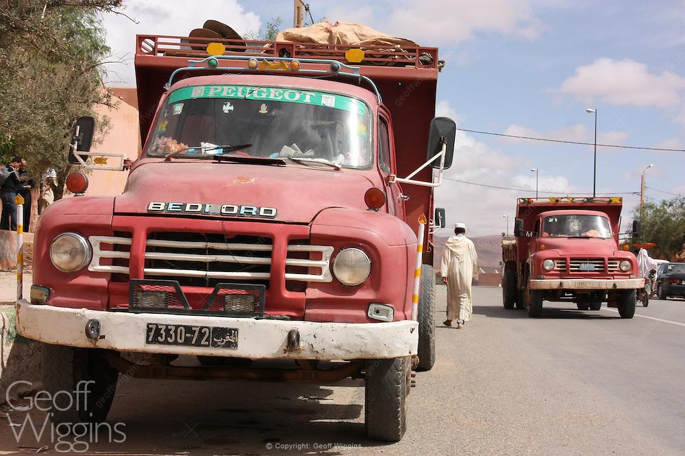 Vintage Bedford 4WD tipper trucks, Tinghir, Morocco