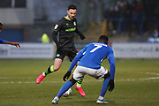 Aaron Collins on the ball during the EFL Sky Bet League 2 match between Macclesfield Town and Forest Green Rovers at Moss Rose, Macclesfield, United Kingdom on 25 January 2020.