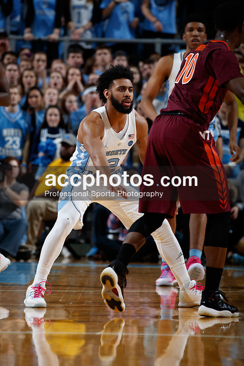 CHAPEL HILL, NC - JANUARY 26: Joel Berry II #2 of the North Carolina Tar Heels guards against the Virginia Tech Hokies on January 26, 2017 at the Dean Smith Center in Chapel Hill, North Carolina. North Carolina won 91-72. (Photo by Peyton Williams/UNC/Getty Images) *** Local Caption *** Joel Berry II