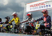 LONDON UK 29TH JULY 2016:  BMX Youth Finals. Prudential RideLondon BMX Grand Prix at the London Velo Park. Prudential RideLondon in London 29th July 2016<br /> <br /> Photo: Bob Martin/Silverhub for Prudential RideLondon<br /> <br /> Prudential RideLondon is the world&rsquo;s greatest festival of cycling, involving 95,000+ cyclists &ndash; from Olympic champions to a free family fun ride - riding in events over closed roads in London and Surrey over the weekend of 29th to 31st July 2016. <br /> <br /> See www.PrudentialRideLondon.co.uk for more.<br /> <br /> For further information: media@londonmarathonevents.co.uk