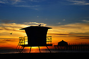 Huntington Beach Lifeguard Tower at Sunset