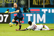 Borja Valero of Inter and Gerson of AS Roma during the Italian championship Serie A football match between FC Internazionale and AS Roma on January 21, 2018 at Giuseppe Meazza stadium in Milan, Italy - Photo Morgese - Rossini / ProSportsImages / DPPI