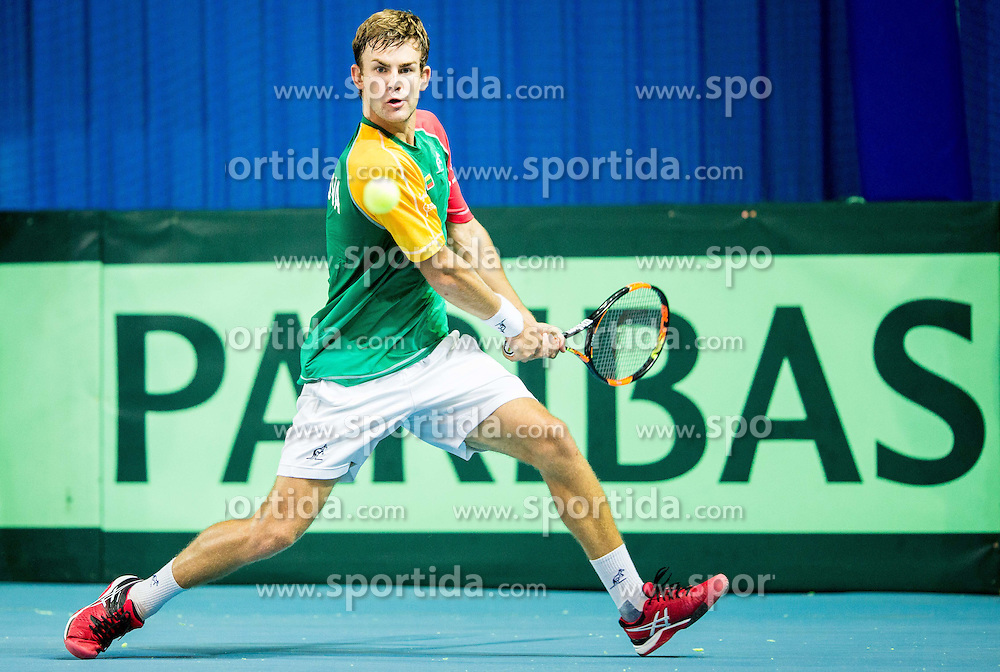 Laurynas Grigelis of Lithuania  during Davis Cup Slovenia vs Lithuania competition, on October 30, 2015 in Kranj, Slovenia. Photo by Vid Ponikvar / Sportida