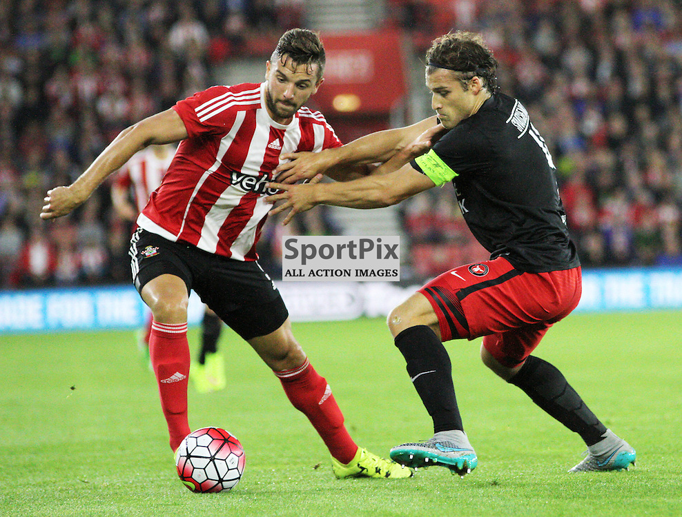 Jay Rodriguez battles with Erik Sviatchenko During Southampton FC vs Fc Midtjylland on Thursday the 20th August 2015.