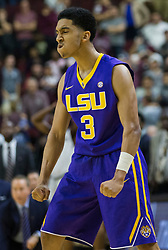 LSU guard Tremont Waters (3) reacts after hitting a three point shot with .7 seconds left to go ahead of Texas A&M during the second half of an NCAA college basketball game Saturday, Jan. 6, 2018, in College Station, Texas. (AP Photo/Sam Craft)