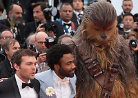 Alden Ehrenreich, Donald Glover, Chewbacca, at the Solo: A Star Wars Story gala screening at the 71st Cannes Film Festival, Tuesday 15th May 2018, Cannes, France. Photo credit: Doreen Kennedy