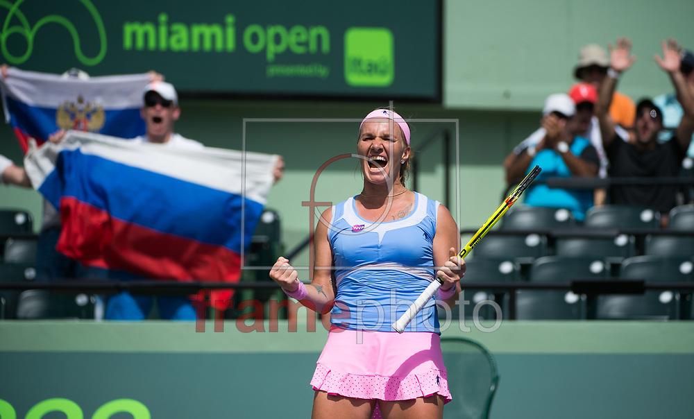 *BRAZIL ONLY* ATENÇÃO EDITOR, FOTO EMBARGADA PARA VEÍCULOS INTERNACIONAIS * A tenista russa Svetlana Kuznetsova celebra vitória durante etapa do Miami Open de tênis, em Miami, Estados Unidos, nesta quinta-feira (31). Foto: DPPI/FramePhoto
